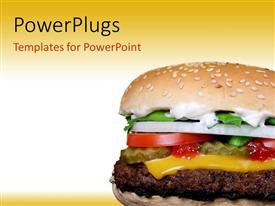 PowerPlugs: PowerPoint template with cheese burger with garden vegetables and onions on white and yellow background