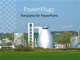 PowerPlugs: PowerPoint template with a chemical factory with clear sky in the background