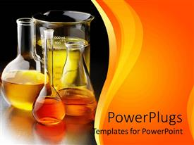 PowerPlugs: PowerPoint template with chemical in flasks and beakers place on table in laboratory with yellow background