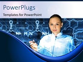 PowerPlugs: PowerPoint template with chemical formulas of hydrocarbons with smiling chemist learning
