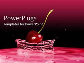 PowerPoint template displaying cherry falling into water creating water splash on cherry and black background