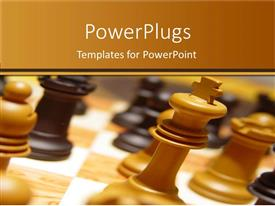 PowerPoint template displaying chess game in progress, competition, games