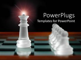 PowerPlugs: PowerPoint template with chess table with white chess pieces, king piece and pawns depicting leading concept
