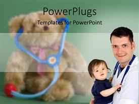 PowerPlugs: PowerPoint template with child care with doctor with stethoscope around neck holding a baby in his arms, with blurred teddy bear wearing toy stethoscope in the background