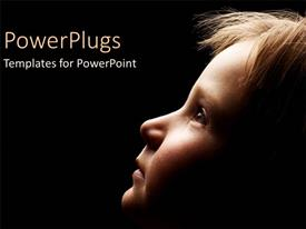 PowerPlugs: PowerPoint template with child in the dark looking up black background