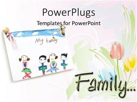 PowerPlugs: PowerPoint template with child drawing of loving family and roses on a white background