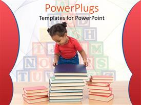 PowerPoint template displaying child examining stacks of books, letter blocks background, school, education, child care, preschool, learning