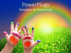 PowerPlugs: PowerPoint template with child hands with colorful painting on fingers and palms with grass and sky and rainbow in the background