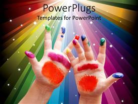 PowerPlugs: PowerPoint template with child hands with colorful painting on fingers and palms