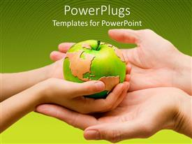 PowerPlugs: PowerPoint template with a child holding the globe in form of an apple with the mother's hands beneath his