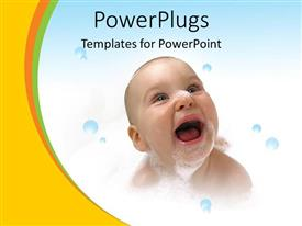 PowerPlugs: PowerPoint template with a child laughing with bubbles in the background