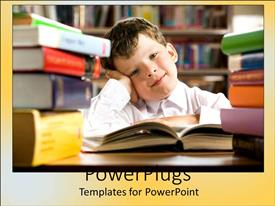 PowerPoint template displaying child leaning leaning head on hand, stacks of books, education, studying, homework, school, library