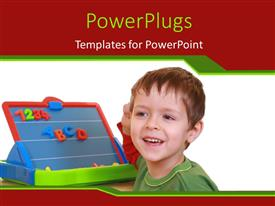 PowerPlugs: PowerPoint template with a child with a learning method in the background