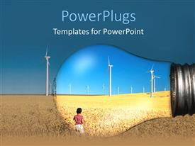 PowerPlugs: PowerPoint template with a child looking towards the wind mills and being highlighted
