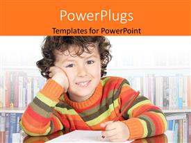 PowerPlugs: PowerPoint template with a child with a lot of books in the background