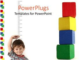 PowerPoint template displaying a child measuring his height along with a number of boxes on a side