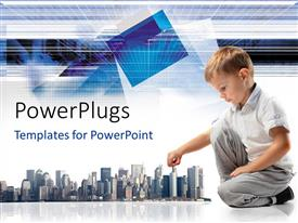 PowerPlugs: PowerPoint template with a child with a number of sky scrapers
