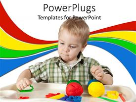PowerPlugs: PowerPoint template with a child playing with different toys with various colored lines in the background