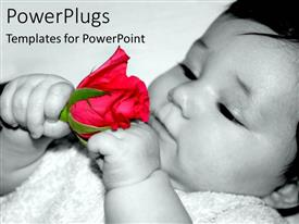 PowerPlugs: PowerPoint template with a child playing with the rose
