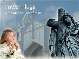 PowerPoint template displaying child praying with rosary beads and Easter lily, cross statue and church, Christianity, religion