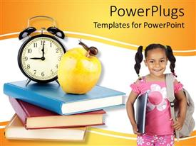 PowerPlugs: PowerPoint template with a child ready to go to school with a number of books at a side