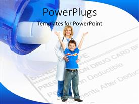 PowerPoint template displaying child standing with a doctor, with tablet and text