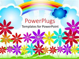 PowerPlugs: PowerPoint template with childish representation of colorful flowers and rainbow in the sky