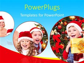 PowerPlugs: PowerPoint template with three tiles showing kids wearing Christmas caps smiling happily