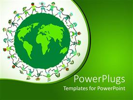 PowerPlugs: PowerPoint template with children holding hands around green globe in green background