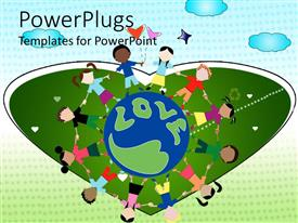 PowerPlugs: PowerPoint template with children holding hands around word love, heart background