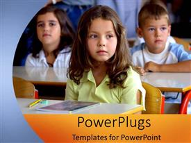 PowerPlugs: PowerPoint template with children learning in classroom desks elementary school education