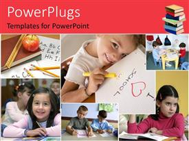 PowerPlugs: PowerPoint template with children learning school elementary education reading writing alphabet school systems