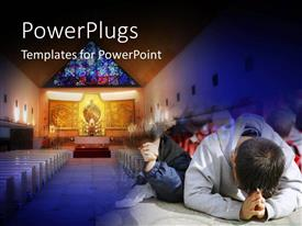 PowerPlugs: PowerPoint template with children praying in the church with christ