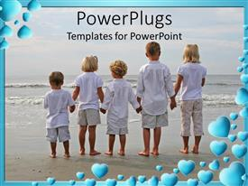 PowerPoint template displaying children in white holding hands on beach