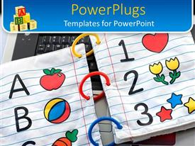 PowerPlugs: PowerPoint template with children's alphabet and numbers notebook on laptop