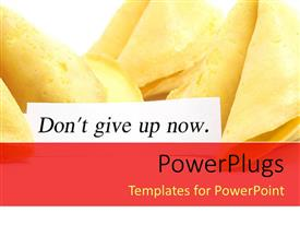PowerPlugs: PowerPoint template with white label with text 'Don't give up now' and fortune cookies