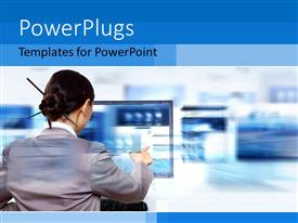 PowerPlugs: PowerPoint template with a chinese girl working on a computer screen with place for text