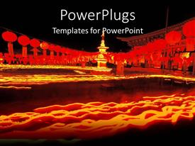 PowerPoint template displaying chinese oriental theme with oriental buildings and Chinese lamps on yellow, orange and red with black background