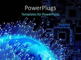 PowerPlugs: PowerPoint template with a chip in the background with a globe in front