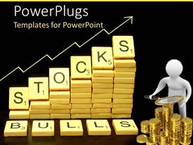 PowerPlugs: PowerPoint template with chips with letters spelling STOCKS next to man with magnifying lens