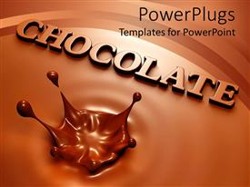 PowerPoint template displaying chocolate background with splash and the chocolate word coming out of the background