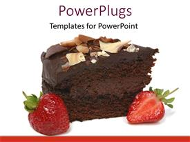 PowerPlugs: PowerPoint template with chocolate cake with strawberry on white background