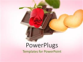 PowerPoint template displaying chocolate pieces with a rose and two cookies