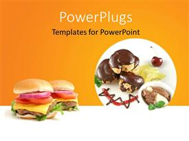 PowerPoint template displaying chocolate profiteroles with kiwi fruit, ice cream and burger, ornage color