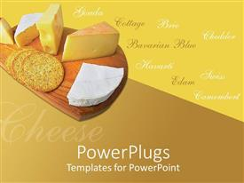 PowerPlugs: PowerPoint template with a chopping board with cheese and bread and some texts
