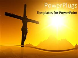 PowerPlugs: PowerPoint template with a sunset view of a cross with Jesus Christ