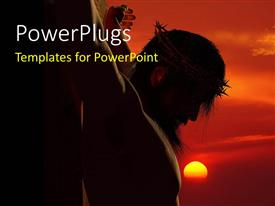 PowerPlugs: PowerPoint template with jesus being crucified with sun in the background