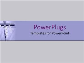 PowerPoint template displaying christ on cross with purple background