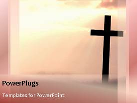PowerPlugs: PowerPoint template with christian cross against pink sunrise pink yellow blend background