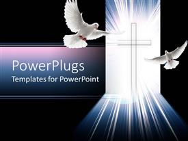 PPT theme featuring christian cross glowing with light with two doves, peace, Christianity, religion, faith